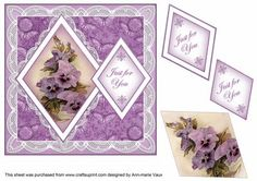 Purple Pansies Just for You 7in Double Diamond Topper on Craftsuprint - Add To Basket!
