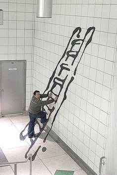 ladder 3D subway art illusion