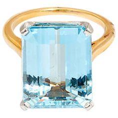 Tiffany & Co. Aquamarine Gold Platinum Solitaire Ring
