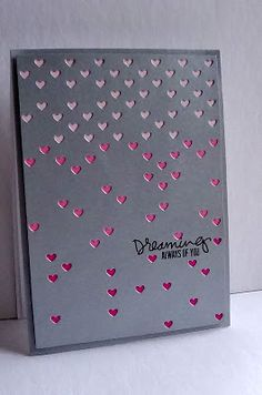 I made a couple simple cards with the Falling Hearts die from Simon Says Stamp .thought it was perfect simply by itself with a sentiment. Love Valentines, Valentine Day Cards, Valentine Ideas, Scrapbooking, Scrapbook Cards, Card Making Inspiration, Making Ideas, Cool Paper Crafts, Diy Crafts