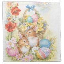 Nostalgic easter rabbits napkin