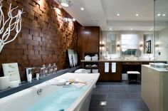 The Seattle Times: Candice: Bathroom-lighting design Small Bathroom Tiles, Bathroom Tile Designs, Wooden Bathroom, Bathroom Wall, Master Bathroom, Bathroom Vanities, Brown Bathroom, Bathroom Ideas, Bathroom Lighting Design