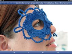 Crocheted mask. I think I look rather fetching