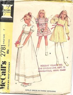 Vntg McCall's 2781 Child's Raised Waist Dress In Three Versions, Size 7 by DawnsDesignBoutique on Etsy