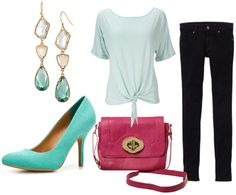 how to style a mint top for night with black skinny jeans fuchsia cross body bag neon pumps and crystal drop earrings