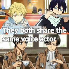 They both share the same voice actor, text, fact, Yato, Yukine, Eren, Levi, Attack on Titan, Noragami, crossover; Anime