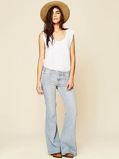 NWOT FREE PEOPLE Chambray High Rise Wideleg size 25 MSRP $128.00