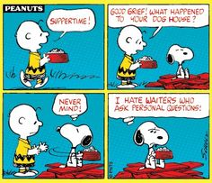 Suppertime strip with messed up doghouse. Charlie Brown and Snoopy.