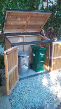 Backyard Sheds, Backyard Garden Design, Backyard Projects, Garbage Can Shed, Garbage Can Storage, Diy Storage Shed Plans, Storage Shed Organization, Trash Can Storage Outdoor, Recycling Bin Storage