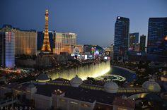 #byhandpix Las Vegas Strip, Las Vegas, Nevada. View of Paris, Cosmopolitan, Bally's, Bellagio Fountain and Planet Hollywood.