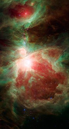 This image from Nasa's Spitzer Space Telescope shows a stellar nursery containing thousands of young stars and developing protostars near the sword of the constellation Orion. Massive stars light up the Orion nebula, the bright region near the centre of the image. To the north of the nebula is a dark filamentary cloud of cold dust and gas over five light years long, containing ruby red protostars that jewel the hilt of Orion's sword   Photograph: Spitzer Space Telescope/Nasa