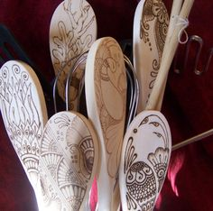 Mendhi Flower Kitchen Spoon in Pyrography