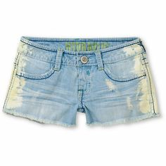 Enjoy every day of sun in the Jewel Side Tie Dye denim shorts from Hydraulic, with a light blue wash and tie dye bleached sides for extra style. The Jewel denim shorts feature frayed raw edge hems, the original Bailey low rise fit, and 5-pocket design with extra back pocket, contrast stitching, and metal stud details. Wear these cut-off short shorts with a graphic tee and slip on shoes for sweet summer style.