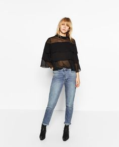 Image 1 of 3/4 SLEEVE FRILLED BLOUSE from Zara