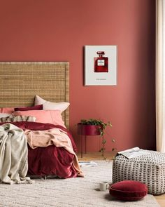 Coco Chanel No 5 Red Print Chanel Red Perfume Bottle Poster Chanel number five Limited Edition Wall Art Red iconic Parfum Fashion Poster Red Wall Red velvet duvet cover red velvet round pillow red accents red bedroom Bedroom Wall Colors, Bedroom Red, Home Bedroom, Red Bedrooms, Master Bedroom, Red Accent Bedroom, Bedroom Ideas, Bohemian Bedrooms, Red Bedroom Design