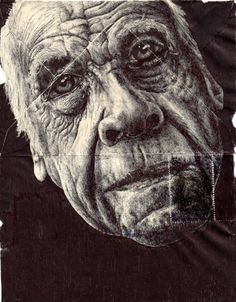 Artist - Mark Powell The artists particularity is to draw portraits of the elderly on the back of old envelopes. All of his marvellously detailed portraits are drawn with a Bic Biro pen. Biro Art, Biro Drawing, Ink Pen Drawings, Drawing Faces, Amazing Drawings, Amazing Art, Illustrations, Illustration Art, Mark Powell