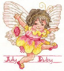 Toddler Birthstone Fairy July Ruby Cross Stitch Pattern 1/5