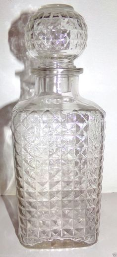 Vintage Clear Glass Decanter Bottle w/Topper USA Owens-Illinois Company #OwensIllinois