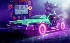 Incredible retro style DeLorean with a bit of a Tron feel too! By Alexandre Primus Dmc Delorean, Delorean Time Machine, Marty Mcfly, The Future Movie, Back To The Future, Cyberpunk, Wallpaper Animes, Future Days, Cinema Tv