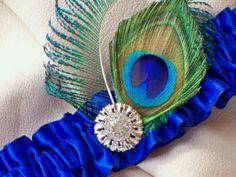 Peacock feather garter