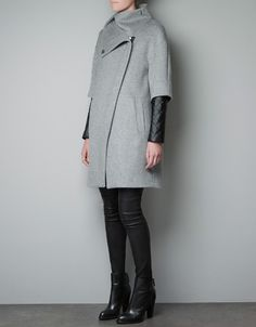 love.  COAT WITH QUILTED FAUX LEATHER SLEEVES - Coats - Woman - ZARA