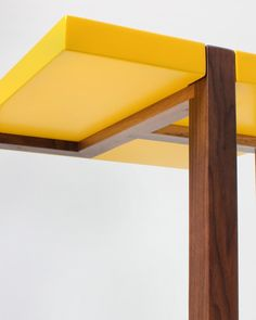 Designer Hugo Passos' yellow side table inspired by the paintings of Dutch artist Piet Mondrian will feature in the Stepney Green Design Collection curated by Dezeen. Wooden Crate Coffee Table, Log Coffee Table, Pallet Dining Table, Farmhouse Dining Room Table, Pine Table, Dining Table Legs, Wooden Stools, Wooden Tables, A Table