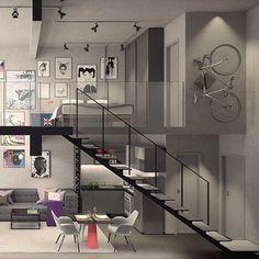 WEBSTA @ ohlaemcasablog - Em tons de cinza, o flat se destaca pela sua jovialidade ✔️ Graças ao estilo minimalista, o espaço se torna leve✨A escada, em estrutura aparente, e a iluminação com tubulação, também aparente, dão o toque industrial e contemporâneo 🔝👏 O mezanino integra o espaço, uma vez que a escolha da paleta de cores neutras traz uma homogeneidade visual ao local #ohlaemcasa   Por Suite Arquitetos