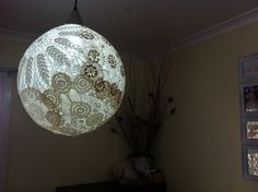 Doily pendant light shade Dim Lighting, Light Shades, Doilies, Ceiling Lights, Pendant, Projects, Home Decor, Log Projects, Blue Prints