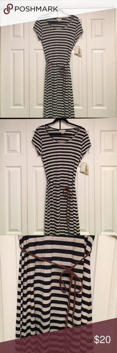 """Belle du Jour"" Maxi Dress This ""Belle du Jour"" has tray and navy blue stripes and comes with a brown braided belt.  Belle Du Jour Dresses"
