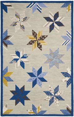 $5 Off when you share! Safavieh Martha Stewart Lemoyne Star Blue Rug | Contemporary Rugs #RugsUSA