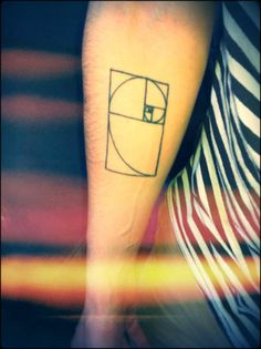 Golden ratio with spiral tattoo