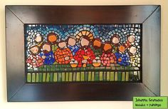 Last Supper (15x30cm) Stained glass on wood.