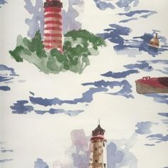 "Ralph Lauren wallpaper pattern LCW23477. Ralph Lauren wallpaper with light houses and boats, a water scene.  Perfect wallpaper for a beach house or a home near the water.  Each double roll is 27"" wide and 9 yards long covering approx. 56 square feet of wa"