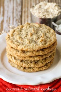 Coconut Cookie Coconut Oatmeal Cookies - so soft, chewy and tasty! You can never eat just one! { }Coconut Oatmeal Cookies - so soft, chewy and tasty! You can never eat just one! Just Desserts, Delicious Desserts, Dessert Recipes, Yummy Food, Healthy Food, Healthy Eating, Healthy Life, Healthy Recipes, Oatmeal Coconut Cookies
