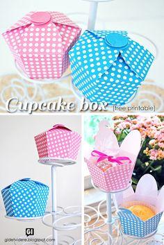 Sweet cupcake gift boxes. Free printable.
