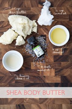 DIY Body Butter with Shea Butter, Coconut Oil, Vitamin E Oil, and Almond Oil.
