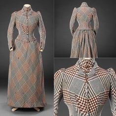 This Friday's frock is a tasteful day dress made of a checkered wool fabric, ca. 1890s. From the John Bright Collection.
