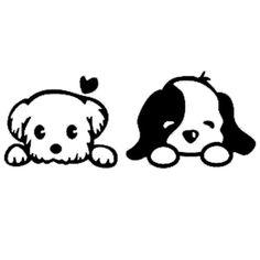 Puppy Love - Vinyl Decal Wall Art Puppy Love - Vinyl Decal Wall Art by BadFishDecals on Etsy www. Vinyl Wall Decals, Window Decals, Macbook Decal Stickers, Car Decal, Wall Stickers, Vinyl Projects, Rock Art, Doodle Art, Easy Drawings