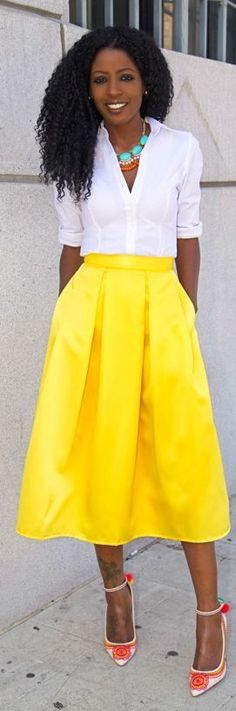 Shoxie Yellow Box Pleat Midi Skirt by Style Pantry--love this bright and stylish look!