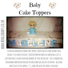 Boogiebabys Cake Toppers: Cute big eyes baby cake topper - clay figurine. #christeningtopper #caketopper #babygift