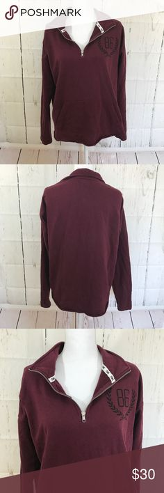 VS Pink pullover Burgundy sweater In EUC Victoria Secret Pink Burgundy pullover sweater with front pockets. PINK Victoria's Secret Sweaters V-Necks