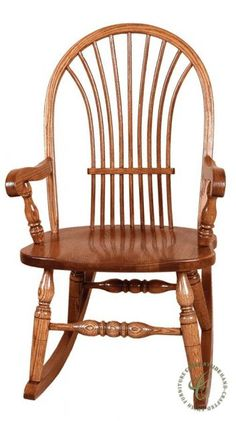 Made to look like a bundle of wheat, the back of our Walter Sheaf Back Rocker is Traditional and Timeless in solid Oak as handcrafted by the Amish.