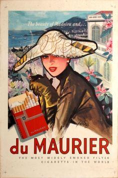 Madeira Maurier Cigarettes 1950s - original vintage poster listed on AntikBar.co.uk