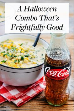 A Halloween Combo That's Frightfully Good. Order your customized Coke bottles for your ghouls and guests. Soup Recipes, Cooking Recipes, Recipies, Halloween Disfraces, Coke, Coca Cola, Healthy Snacks, Food And Drink, Yummy Food
