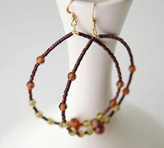 Copper Green Beaded Hoop Earrings