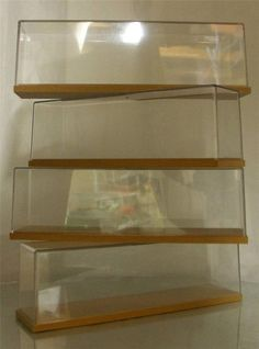 FOUR SMART PESPEX AND WOOD MODEL #DISPLAY CASES fits #HORNBY , #BACHMANN OO HO Etc