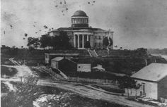 Missouri's second permanent capitol building in Jefferson City opened in 1840. The first one, built shortly after the state government chose the village of Jefferson City as the capital, burned in 1837. This one already was being built near the original when the first one was destroyed. This building later was expanded. (Missouri State Archives)