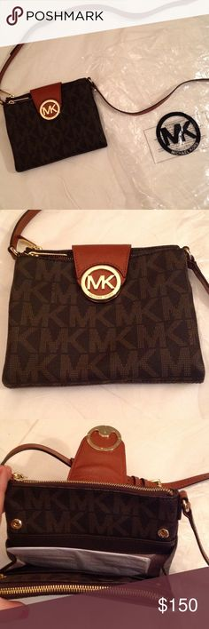 Nwot Kors cross body double flap Brown MK cross body bag. Still has stuffing in it from purchase, never used. Missing tags Michael Kors Bags Crossbody Bags