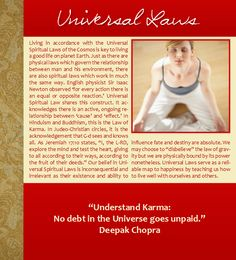 Universal Laws, Universal Spiritual Laws, Deepak Chopra, Karma, Sir Isaac Newton, Christmas, Hanukkah, Holidays, Quotes