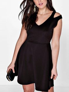 bf01241846f Women s Plus Black V-Neck Cold Shoulder A-Line Dress clothes